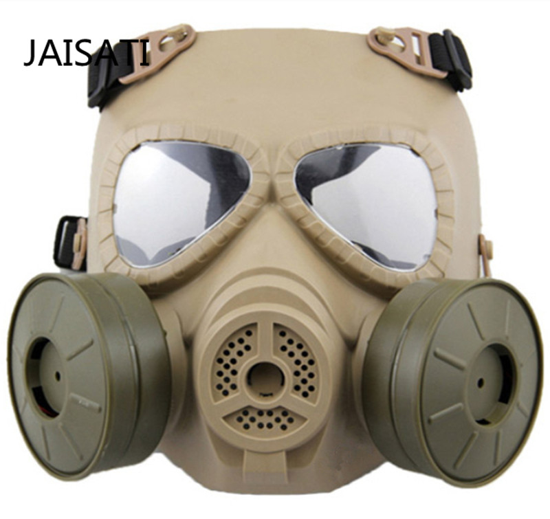 Image 3 - JAISATTI Tactical Head Masks Resin Full Face Fog Fan For CS Airsoft Paintball Dummy Gas Mask with Fan Double Cosplay Protection-in Masks from Security & Protection