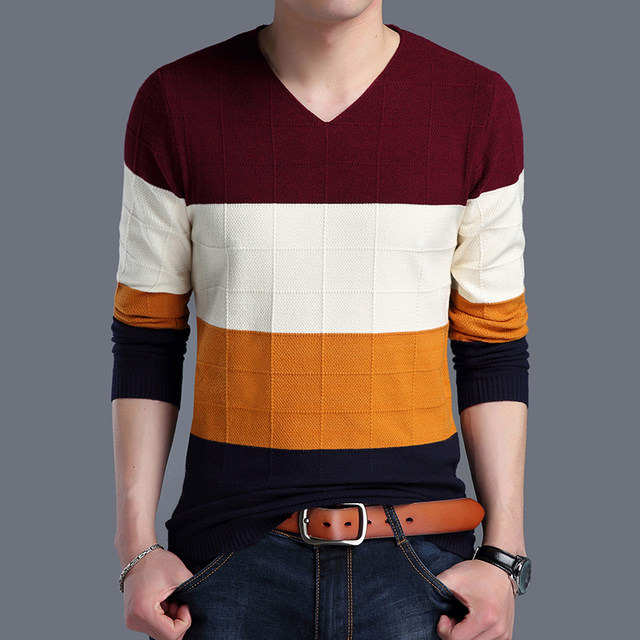 2019 Autumn New Fashion Brand Sweater Man Pullovers Striped Slim Fit Jumpers Knitwear Woolen Korean Style Casual Men Clothes 44