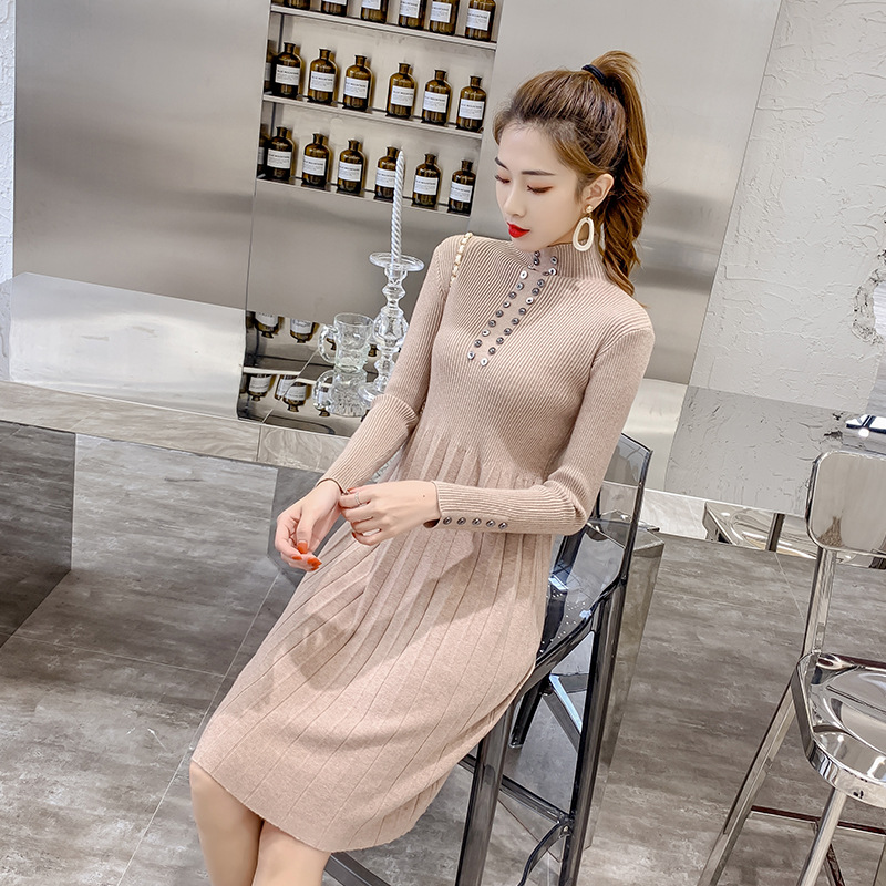2019 Autumn New Style Trend WOMEN'S Knit Dress Comfortable Fabric Elegant Debutante Fitted Skirt