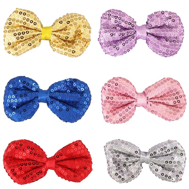 1PC Sequin Bowknot Hair Clip Headwear Cute Children Alligator Hair Bow 8 Inch