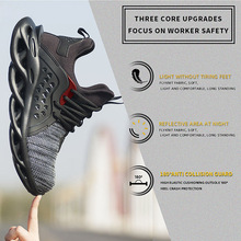 Mens Outdoor Breathable Mesh Steel Toe Safety Shoes Light Puncture Proof Comfortable Work Shoes Reflective Safety Boot