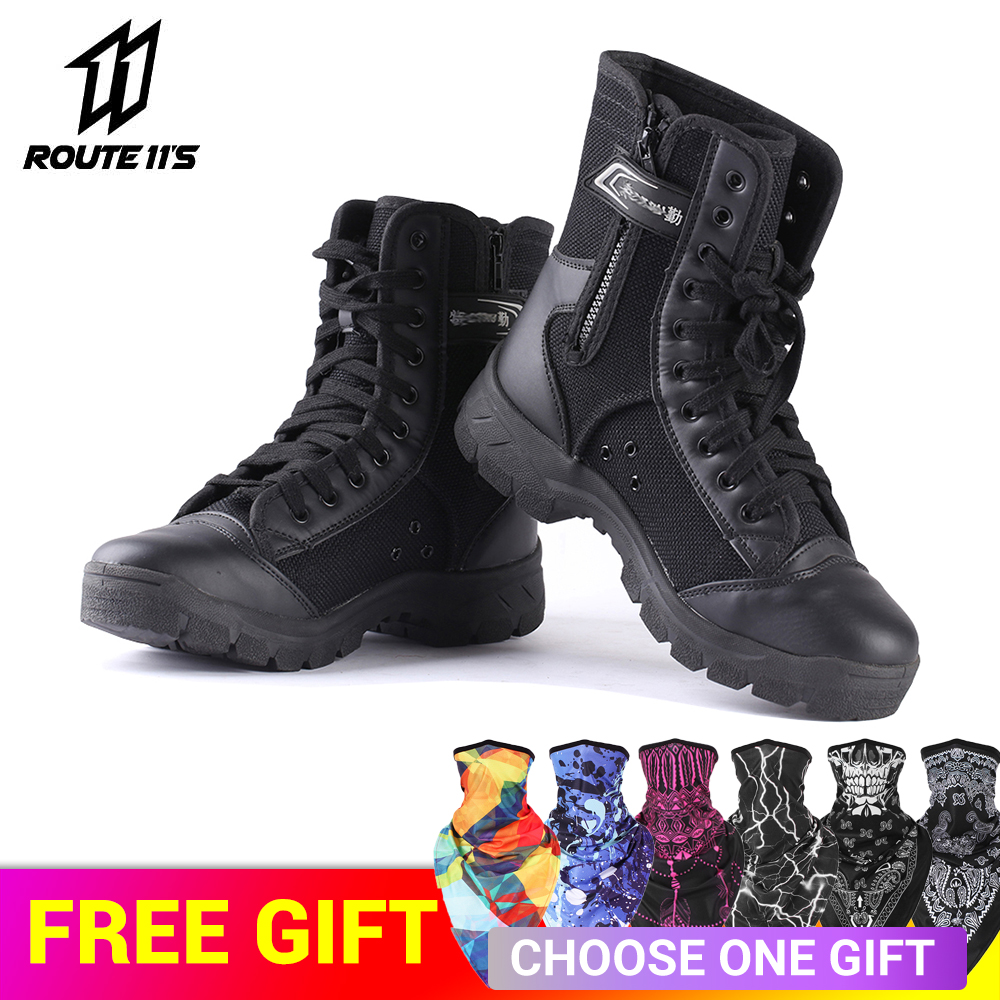 Motorcycle Boots PU Leather Non-slip Motorcycle Road Racing Shoes Spring Autumn Breathable Motorbike Shoes Men Motorcycle Boot