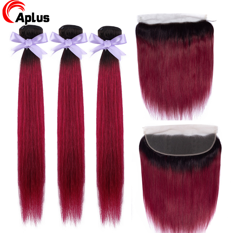 Aplus 1b/Burgundy 2 Tone Ombre Bundles With Frontal Closure Straight Remy Brazilian Human Hair Colored Bundles With Lace Frontal