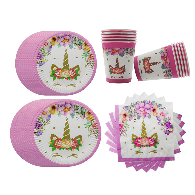 80pcs Unicorn Party Decor Paper Plates Cups Napkins Disposable Tableware Wedding Baby Shower Happy Birthday Supplies
