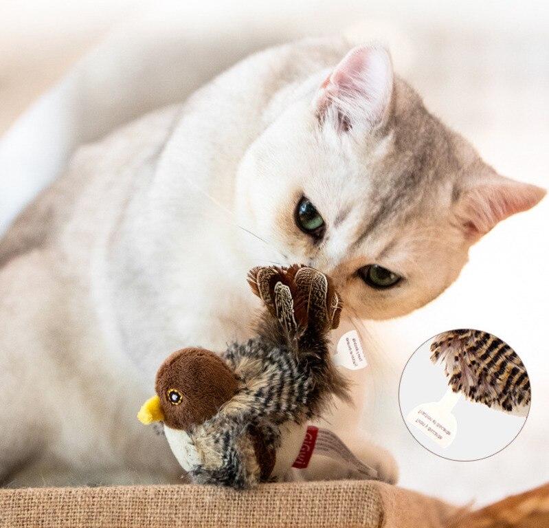 Имитация птичьей мыши, игрушка для домашних животных, котенок, Интерактивная тренировочная Когтеточка, перо, говорящая игрушечная Когтеточ...