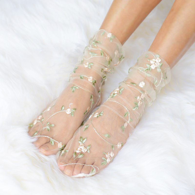 Embroidery Flowers Socks Tulle  Women Transparent Chiffon Long Socks Femme Thin Socks Dress Streetwear Calcetines Muje