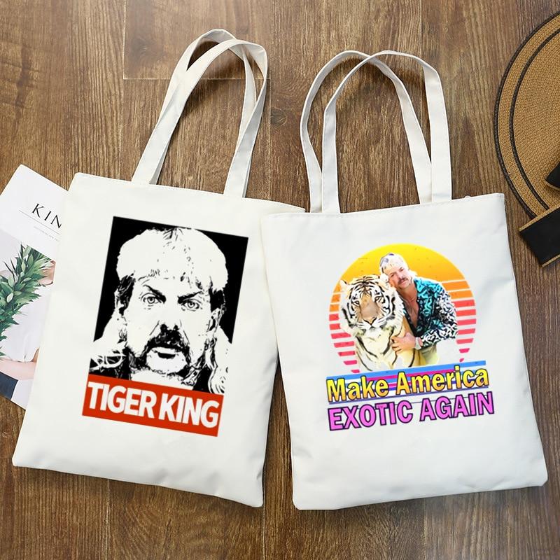 Tiger King Joe Exotic New Female Handbags Hot Selling Fashion Handbag Canvas Bag Tote Ladies Shoulder Bag Reusable Shopping Bags