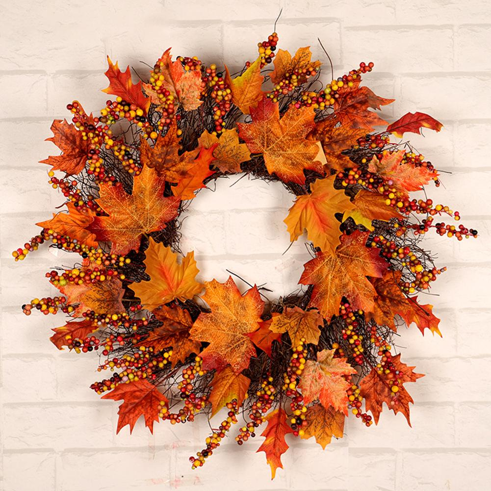 1pcs Christmas Thanksgiving Autumn Color Garland Window Restaurant Home Maple Leaf Decoration Ornaments Holiday Pendant Wreath