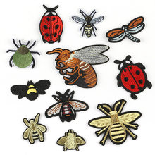 Cute Small Insect Stickers Bee Ladybug Dragonfly Diy Embroidered Patches for Clothes Shoes Cap Bag(China)