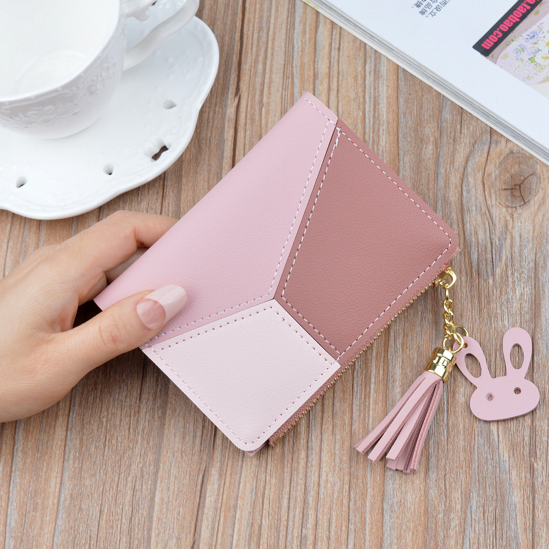 Геометрические женские кошельки на молнии, розовый карман для телефона, кошелек, держатель для карт, пэчворк, Женский Длинный кошелек, Дамский короткий кошелек с кисточками - Цвет: Short-Pink