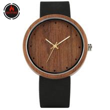REDFIRE Men's Watches Simple Round Dial Natural Wooden Watch