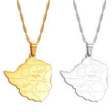 Anniyo mapa do zimbabwe com cidade pingente colares cor prata/cor do ouro feminino de aço inoxidável zimbabweans mapas correntes #070921