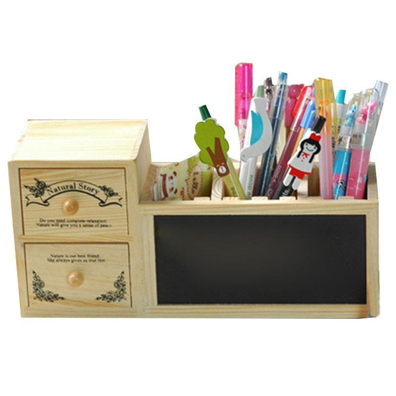Wooden Pen Holder With Blackboard Cute Desktop Pencil Holder Kawaii Desk Tidy Organizer Pen Pot Creative Office Accessories