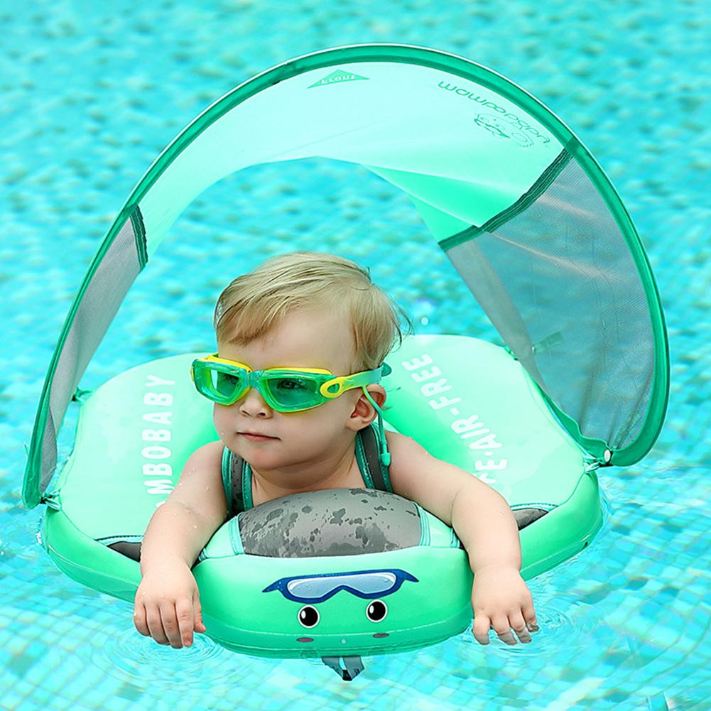 Baby Swim Float With Canopy Detachable Infant Swim Ring Swimming Trainer For Toddlers Kids Swim Trainer Relaxing