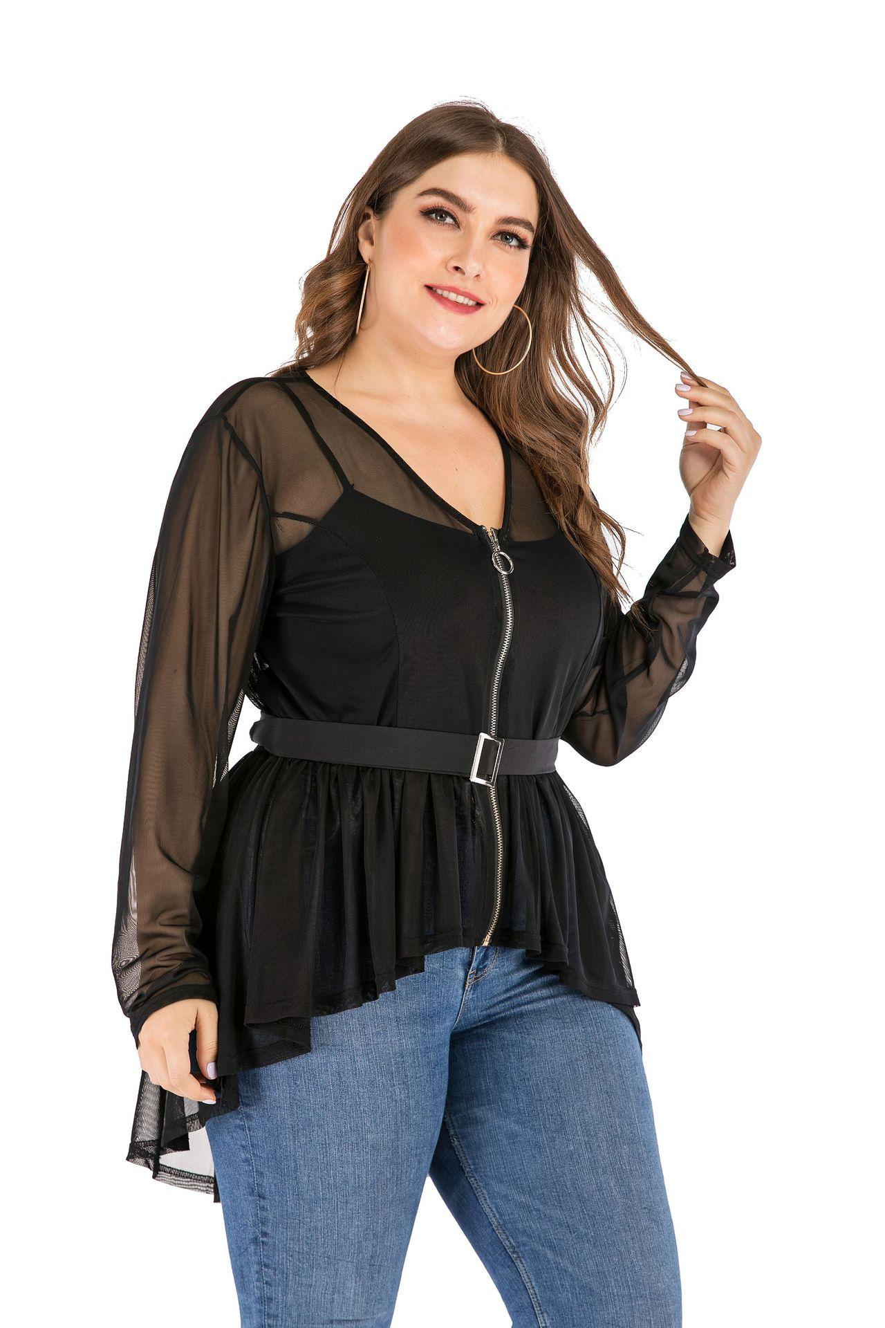 Sexy Mesh Thin Sexy Blouse Asymmetrical Mujer Transparente Fluoroscopia Blusa Casual Verano Tops Zipper Summer Shirts T99370