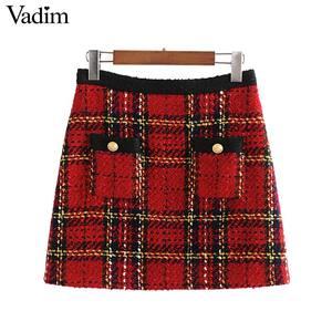 Image 1 - Vadim elegante para mujer tweed patchwork plaid mini falda trasera con cremallera bolsillos decorar ropa de oficina faldas con estilo femenino BA860