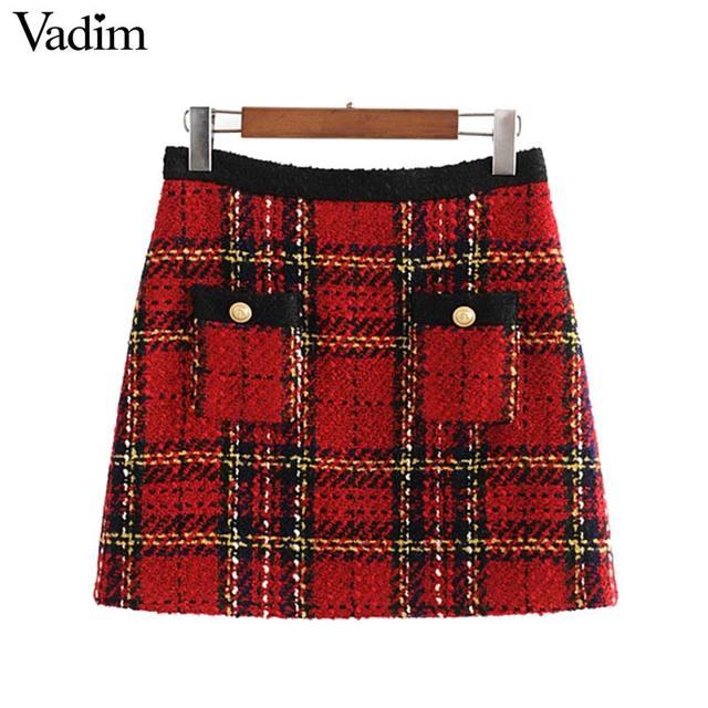 Vadim elegante para mujer tweed patchwork plaid mini falda trasera con cremallera bolsillos decorar ropa de oficina faldas con estilo femenino BA860