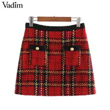 Vadim women elegant tweed patchwork plaid mini skirt back zipper pockets decorate office wear female stylish skirts BA860