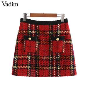 Image 1 - Vadim 女性エレガントなツイードパッチワークチェック柄ミニスカートバックジッパーポケット飾る事務服女性スタイリッシュなスカート BA860