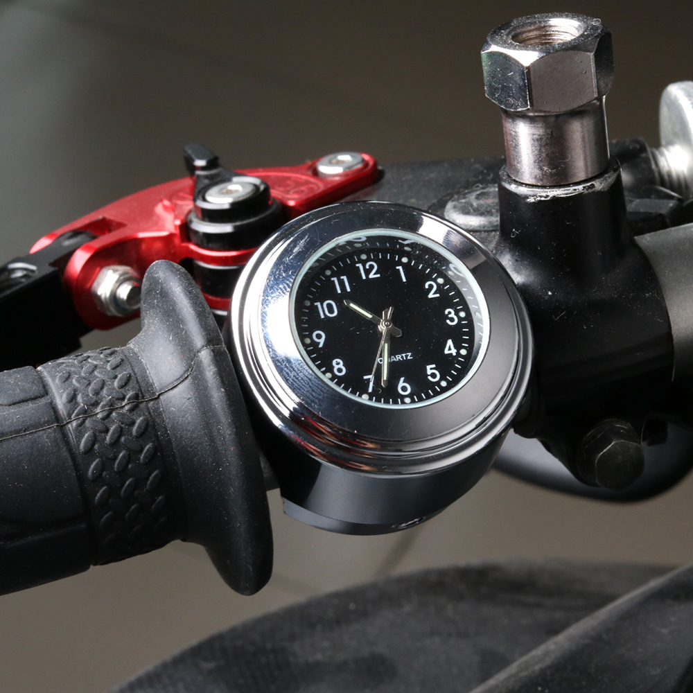 "Universal 7/8"" Waterproof Chrome Motorcycle Bike Handlebar Mount Quartz Clock Watch Aluminum Luminous Clock Moto Black Accessori"