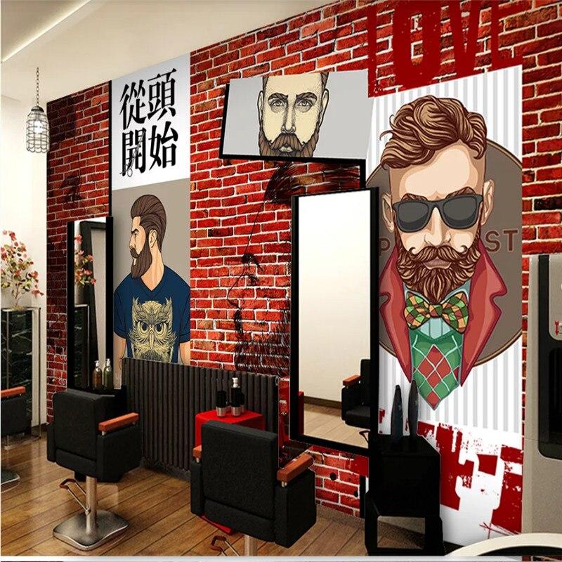 Personalized Custom Barber Shop Decor Mural Papel De Parede 3d Men S Hair Design Red Brick Background Wallpaper 3d Wall Paper Aliexpress