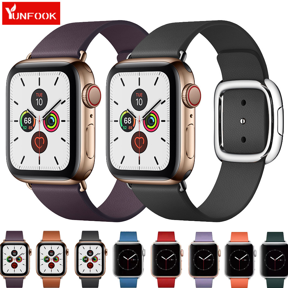 Modern Buckle Strap For Apple Watch Band 44 Mm 40mm Iwatch Band 42mm 38mm Genuine Leather Bracelet Belt Apple Watch 5 4 3 2 1