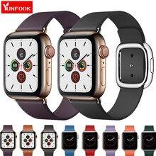 цена на Modern buckle Strap For Apple Watch Band 44 mm 40mm iwatch band 42mm 38mm Genuine leather Bracelet belt apple watch 5 4 3 2 1
