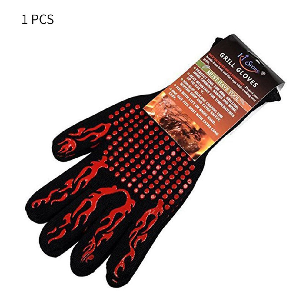 Fire Gloves High Temperature Resistant Gloves Microwave Oven Outdoor Barbecue Hot Flame Proof Working Gloves