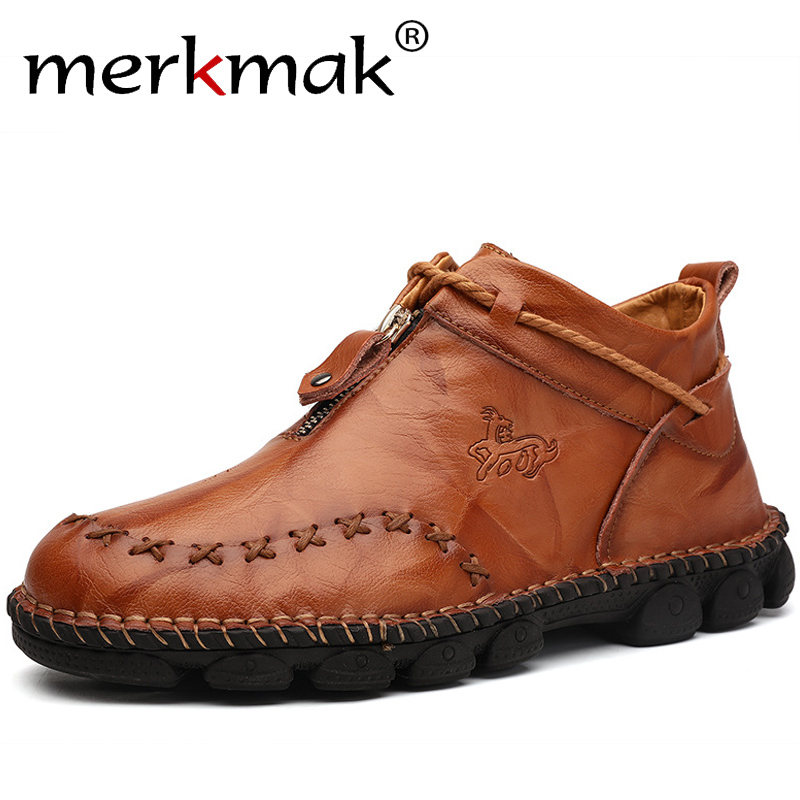 Merkmak New Genuine Leather Men Boots High Quality Winter High-top Men Ankle Boots Classic Zipper Non-slip Sneakers Big Size 48