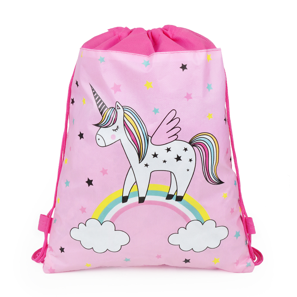 Drawstring Bag Double Rope Unicorn Cartoon Pattern Backpack Waterproof Storage Bag Suitable For Children Gift Backpack