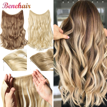 BENEHAIR Invisible Wire No Clips In Hair Extension Secret Fish Line Hairpiece Curly Fake Synthetic For Women - discount item  35% OFF Synthetic Hair