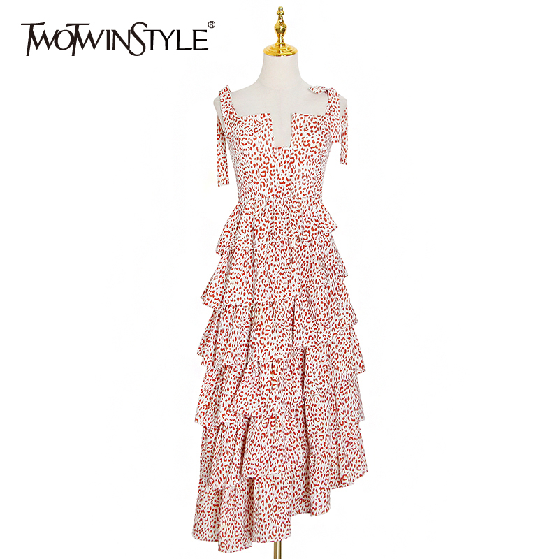 TWOTWINSTYLE Hit Color Print Dress For Women Square Collar Sleeveless High Waist Lace Up Elegant Sling Dresses Female New Style