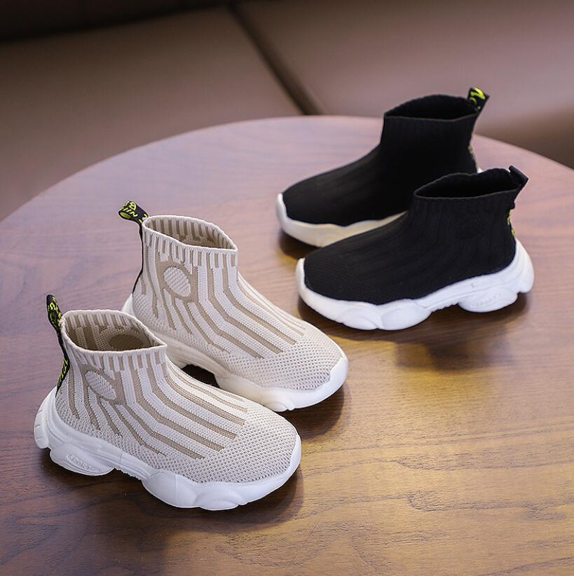 2020 Children Casual Shoes Male Female Baby Sneaker Kids High Elastic Foot Wrapping Martin Boots Kids Knitted Socks Sport Shoes