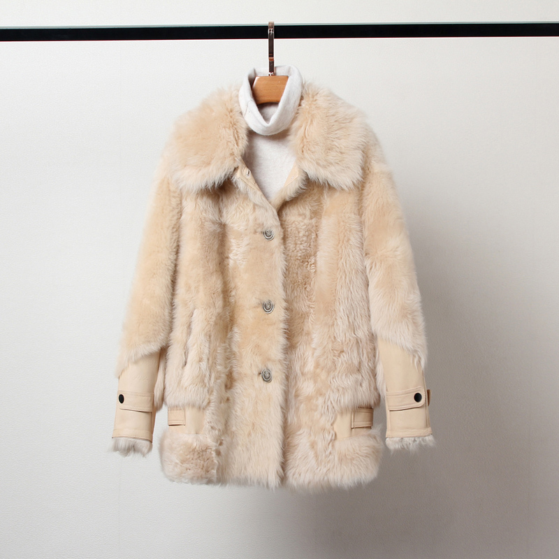Natural Real Fur Coat Female Vintage 100% Wool Jacket Women Winter Clothes 2020 Korean Double Faced Fur Top Overcoat Hiver 19181