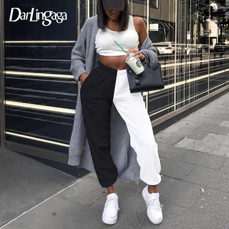 Darlingaga Streetwear Patchwork Sweatpants High Waist Pants Contrast Color Casual Trousers Women's Pants Baggy Pantalones Bottom