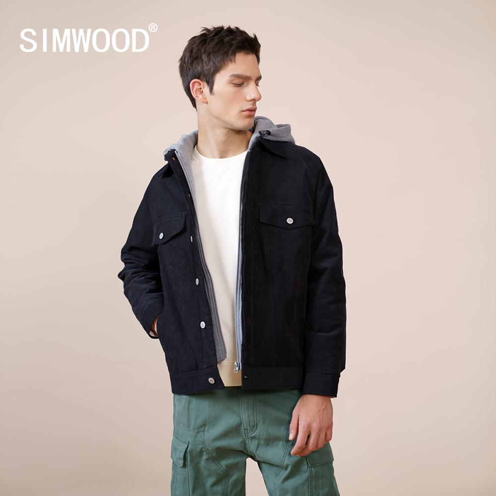 SIMWOOD 2021 Winter New 90% White Duck Down Coats Men Corduroy Double Layer Hooded Jackets Warm Outerwear Quality Clothes