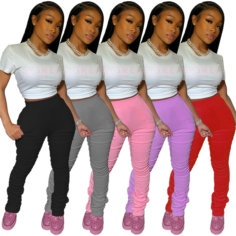 Adogirl XS-XXL Women Casual Solid Ruched Pants With Pockets Mid Waist Highly Stretchy Pleated Trousers Fashion Tracksuit Pants