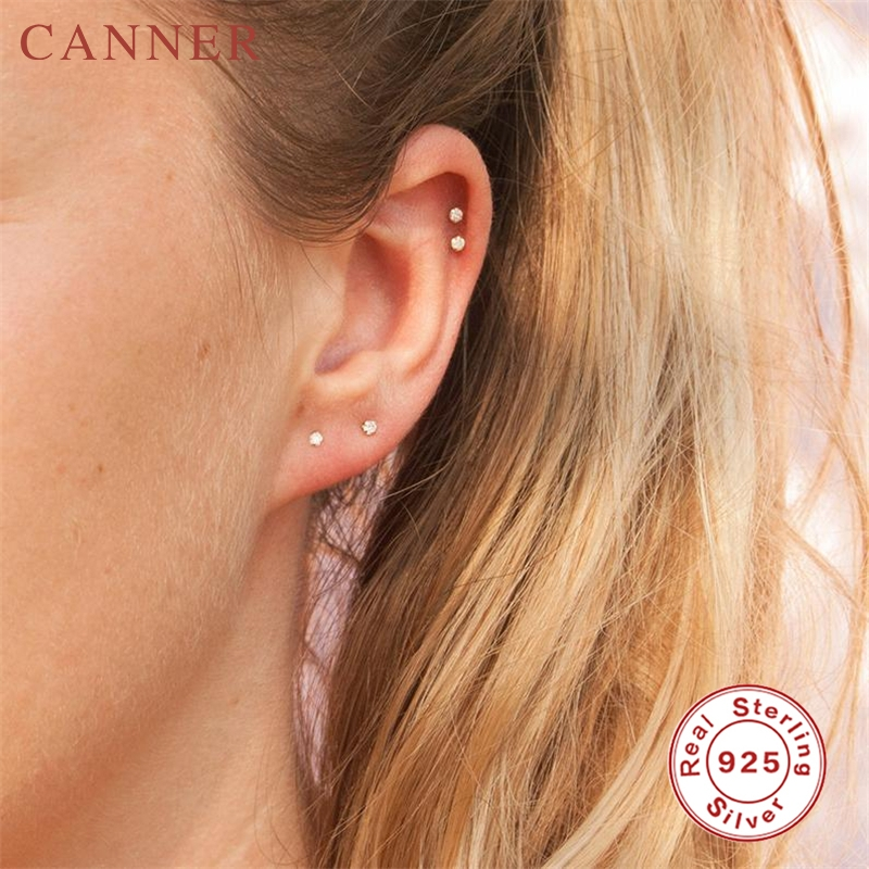 925 Sterling Silver Small Round CZ Zircon Crystal Stud Earrings For Women Gold Earrings Wedding Engagement Piercing Jewelry Gift
