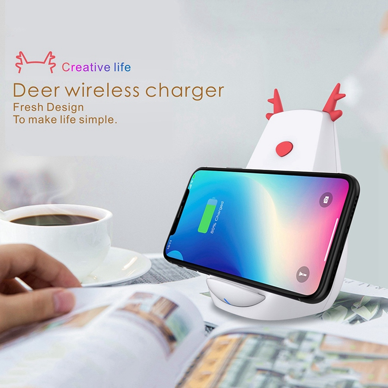 10W Wireless Charger Stand QC Quick Charge Christmas Gift For IPhone X XR XS 8 Plus Samsung S7 S8 S9 S10