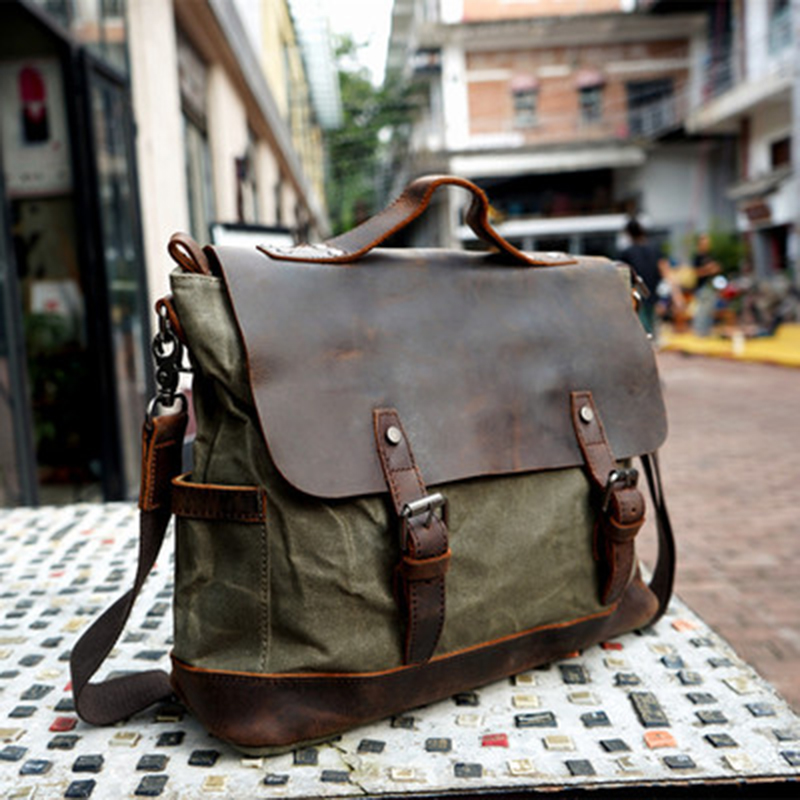 Canvas With Leather Messenger Bag Waterproof Canvas Shoulder Bag Canvas Leather Satchel Bags Mens Tote Bag