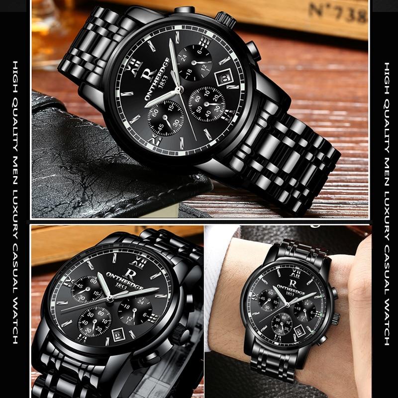 ONTHEEDGE Top Luxury Brand Men Stainless Steel Quartz Wrist Watch Men's Waterproof  Analog Date  Watch Relogio Masculino