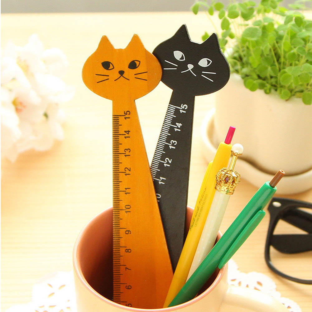 1pcs Long 15cm Wood Straight Ruler Black Yellow Lovely Cat Shape Ruler Gift For Kids Student Stationery Office School Supplies