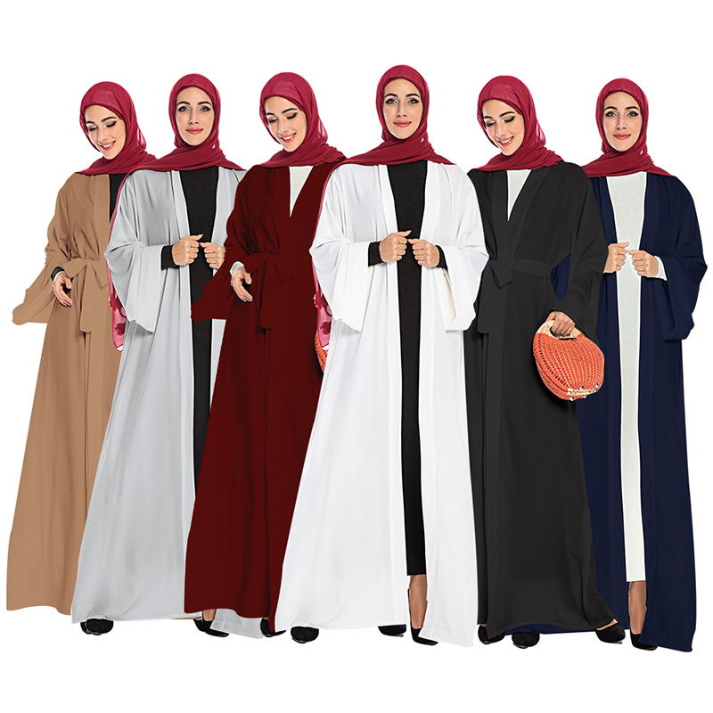 Solid Color Open Abaya Kimono Dubai Kaftan Islam Muslim Hijab Dress Jilbab Abayas For Women Caftan Robe Turkish Islamic Clothing