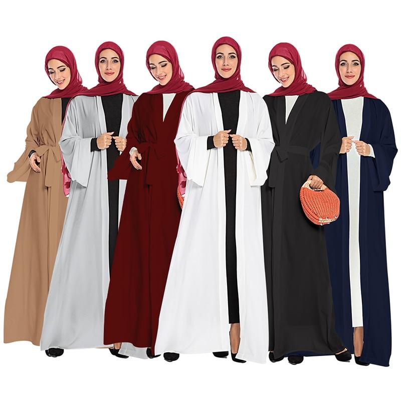 Solid Color Open Abaya Kimono Dubai Kaftan Islam Muslim Hijab Dress Jilbab Abayas For Women Caftan Robe Turkish Islamic Clothing