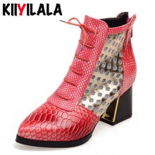 Kiiyilala Hollow Square Heel Woman Sandals Boots Snake Back Zipper Cross-tied Women Shoes Pointed Toe Ankle Boots Big Size 33-43