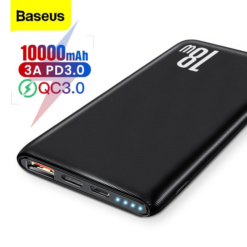 Baseus Quick Charge 3.0 10000mAh Power Bank USB Type C PD 10000 Powerbank Portable External Battery