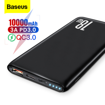 Baseus Quick Charge 3.0 10000mAh Power Bank USB Type C PD 10000 Powerbank Portable External Battery Charger For Xiaomi Mi iPhone