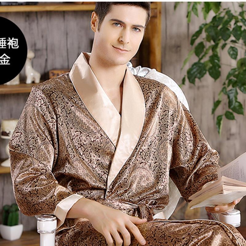 Men Home Clothes Nightgown Summer Satin Kimono Gown Casual Sleepwear Plus Size 3XL 4XL 5XL Print Gold Home Dressing Robe