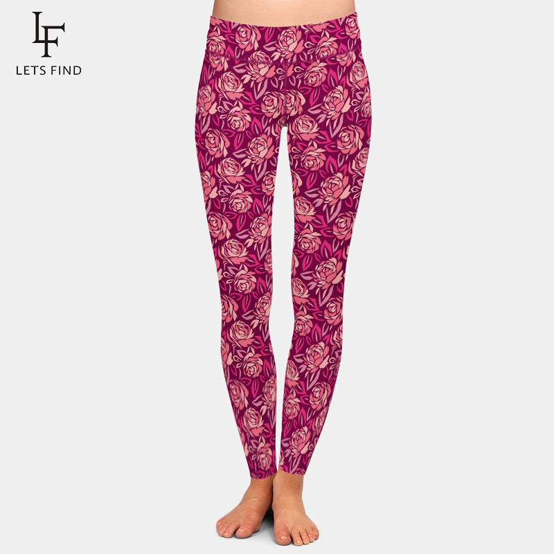 LETSFIND New Abstract Rose Flower Pattern Printing Women Leggings High Waist Plus Size Soft Workout Leggings
