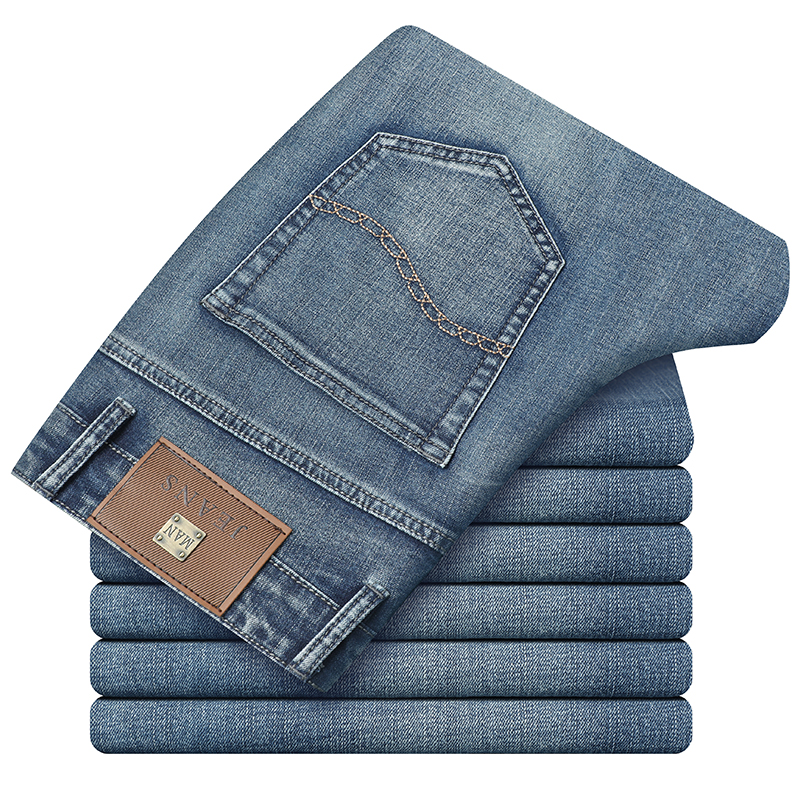 SULEE Brand Retro Blue Spring Summer Brand Men Jeans 2019 New Business Casual Elastic Force Slim Fit Pants  Section Trousers